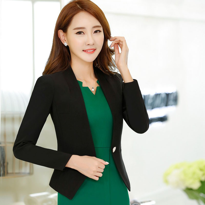 5e2acb237a3e 1pcs Women s plus size jacket blazers 2017 Autumn Cotton blended Slim Fit  small Suit Jackets ladies Skinny short blazers woman-in Blazers from Women s  ...