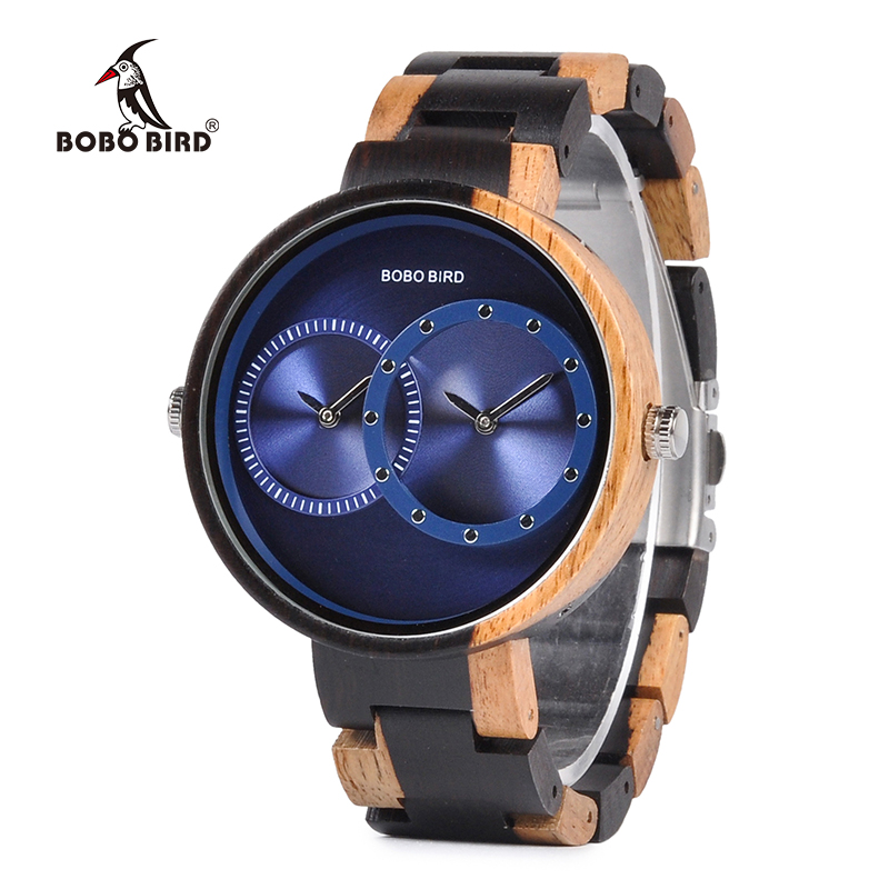 BOBO BIRD Luxury Men Watch Couple Watches Two Different Time Zone Display With Special Color New Design Reloj Mujer C-R10