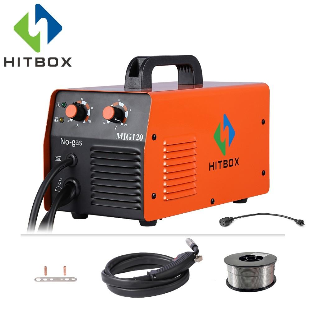 HITBOX Mig Welder Gasless 220V MIG1200 Mag Welders Iron Steel Welding Equipment MIG MAG Welding Machine
