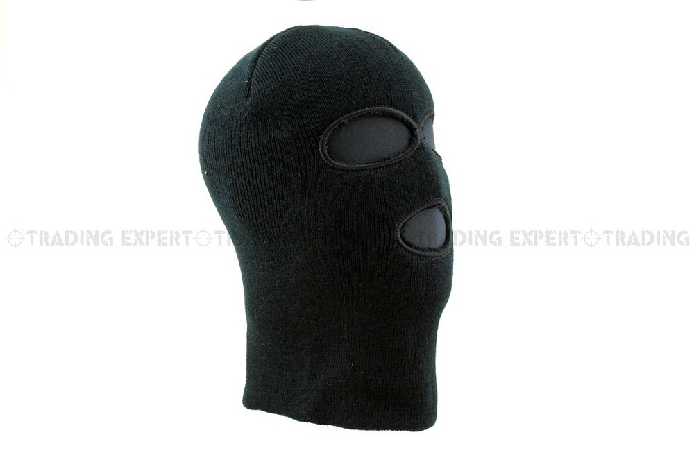Triple Hole Balaclava Ski Mask Black [BA-03-BK]