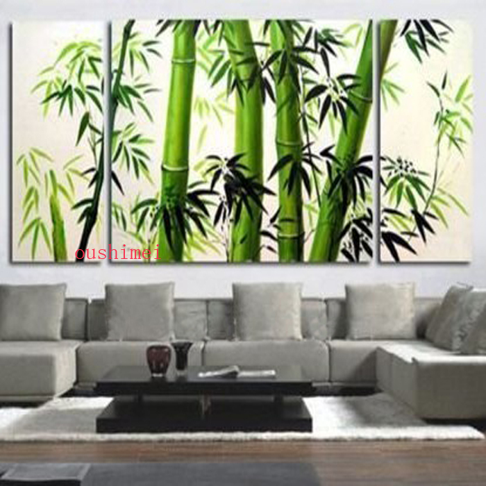 Handmade 3pcs/lot Modern Bamboo Pictures On Canvas Green Tree Oil Painting  No Frame Abstract For Living Room Landscape Wall Art In Painting U0026  Calligraphy ...