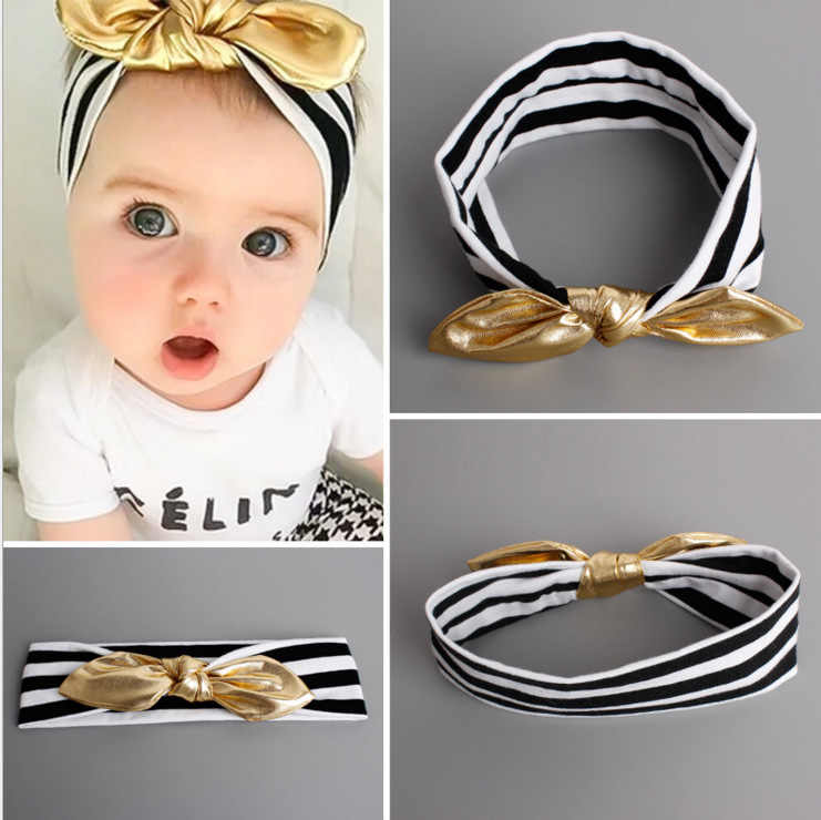 baby girl headband Infant hair turban cloth Tie bow newborn Headwear tiara headwrap Gift Toddler bandage Ribbon rabbit bunny ear