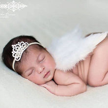 Newborn Baby Girl White Feather Angel Wing Rhinestone Headband Headwear Photography Prop Little Girls Accessories