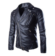 New Motorcycle Leather Jackets Mens Classic Vintage Retro Motocle Jacket Turn Down Collar Slim Faux Biker Size M-