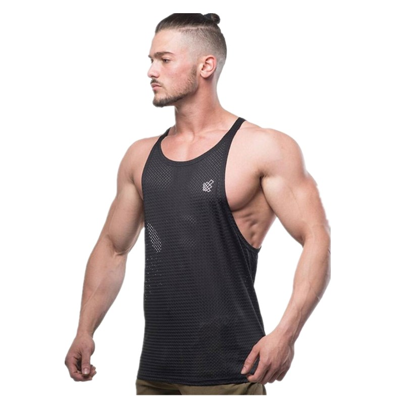 Men Summer New Fashion casual Vest Polyester fabric Mesh Quick drying Breathable Men Gyms Fitness Bodybuilding O Neck   Tank     Tops