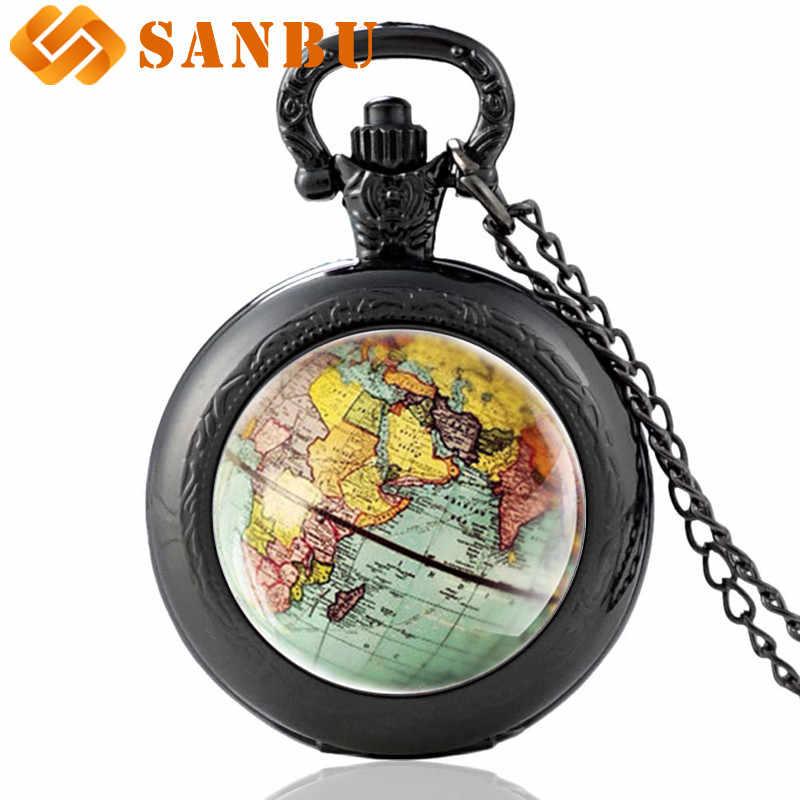 新入荷しましたグローブドームネックレス懐中時計地球世界地図ペンダントガラスチェーンジュエリーニューヨーク地図手作りネックレス時計
