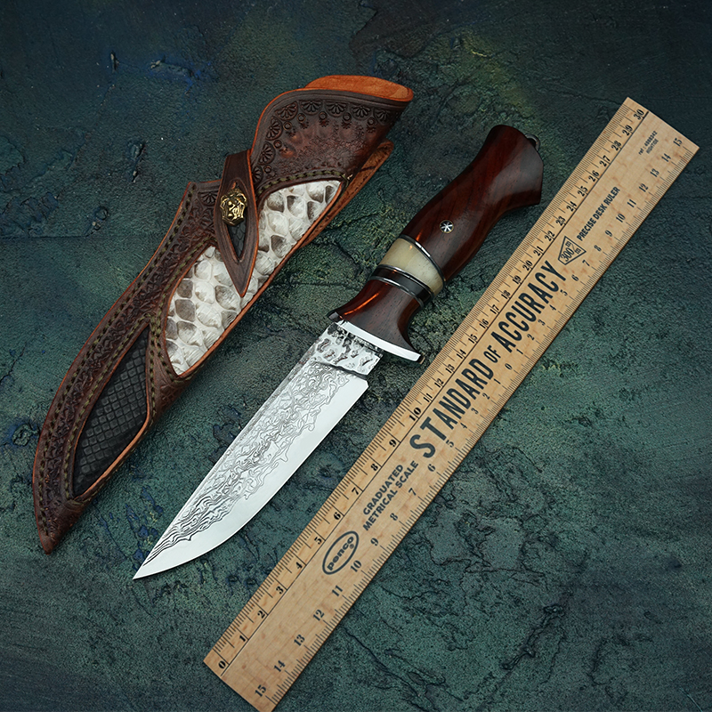 Hand forged Damascus steel straight blade VG10 steel pattern steel fixed blade outdoor camping tool knife