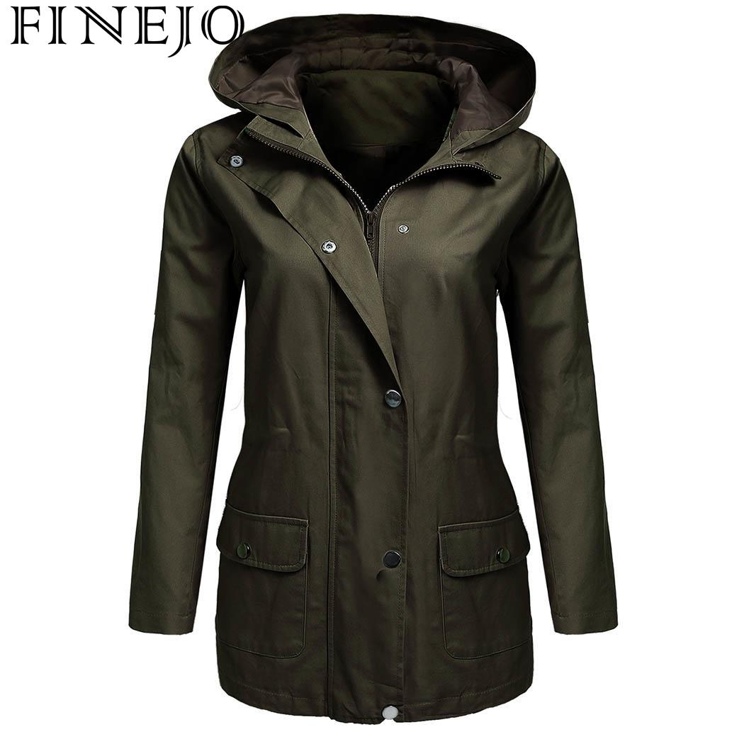 d2da68136a5 FINEJO Women Military Jacket with Pocket Spring Autumn Solid Drawstring  Hooded Zip-Up Winter Zip Front Long Sleeve Coat