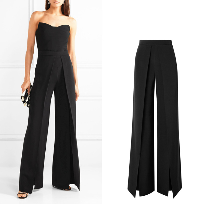 European thin women's floor length longer trousers female high waist personality pleated front open slim   wide     leg     pants   wq2030