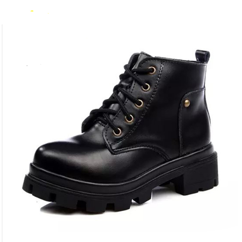 Autumn New Black Cow Leather Lace-Up Women Boots Short Retro British Style Girl Shoes Elegant Ladies Martin Boots Party Shoes 2017 autumn fashion boots sequins women shoes lady pu leather white boots bling brand martin boots breathable black lace up pink