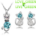 free shipping wholesales  gold plated Austrian Crystal cute cat catty pendant necklace earrings fashion jewelry set 6 colors
