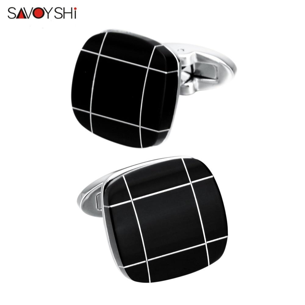 Gemelos de piedra cuadrada negra SAVOYSHI para hombre Camisa Botones de puño Regalo fino Gemelos de alta calidad Marca Moda Hombres Joyería