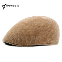 Fibonacci Chenille Berets Newsboy Hat Women Solid Knitted Hats Casual Fashion Flat Caps