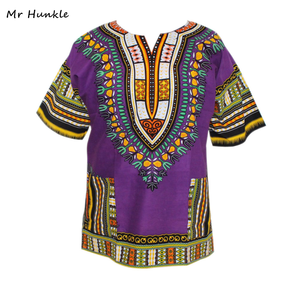 2016 New Arrival Dashiki Dress 100% Cotton New Purple Dashiki Printed T-shirt For Women