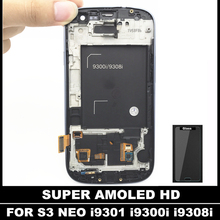 Super AMOLED LCDS For Samsung Galaxy SIII S3 Neo i9300i i9301 i9301i i9308i LCD Display Touch Screen Digitizer Assembly Glass