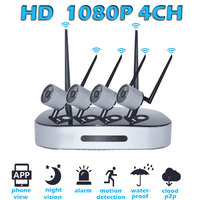 4CH 1080P Full HD Wireless NVR Kit P2P 2MP Indoor And Outdoor IR Night Vision Security