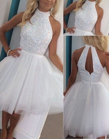 fashion luxury white short prom 2018 halter crystal beaded a line tulle women pageant gown for formal party   bridesmaid     dresses