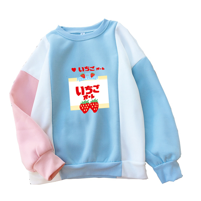 Women Sweatshirt Harajuku Strawberry Milk Kawaii Sweet Cute Girl's Color Block Hoodies Loose O-neck Winter Autumn Fleece Jumper
