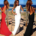 2017 sexy partido de tarde de las mujeres vestidos maxis de bare back mangas prom robe mujeres bodycon larga dress summer dress negro/blanco/rojo