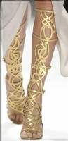 Gold Boots Summer Gladiators Woman Shoes Stiletto Heels Cut Out Sexy Long Boots Ankle Sandals Feminino Mujer T Show Boots