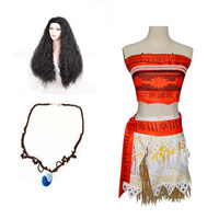 Full Set Kids Movie Moana Princess Dress Cosplay Costume Women Princess Vaiana Costume Skirt Halloween Costume