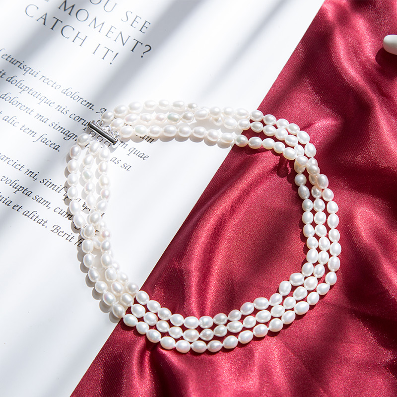 Classic Black 40cm 3-layer Women Pearl Choker Necklace With 6-7mm Round Natural Freshwater Pearl For Women Wedding Gift 2019
