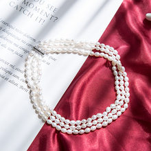 Classic black 40cm 3-layer women pearl choker necklace with 6-7mm round natural freshwater pearl for women wedding gift 2019(China)