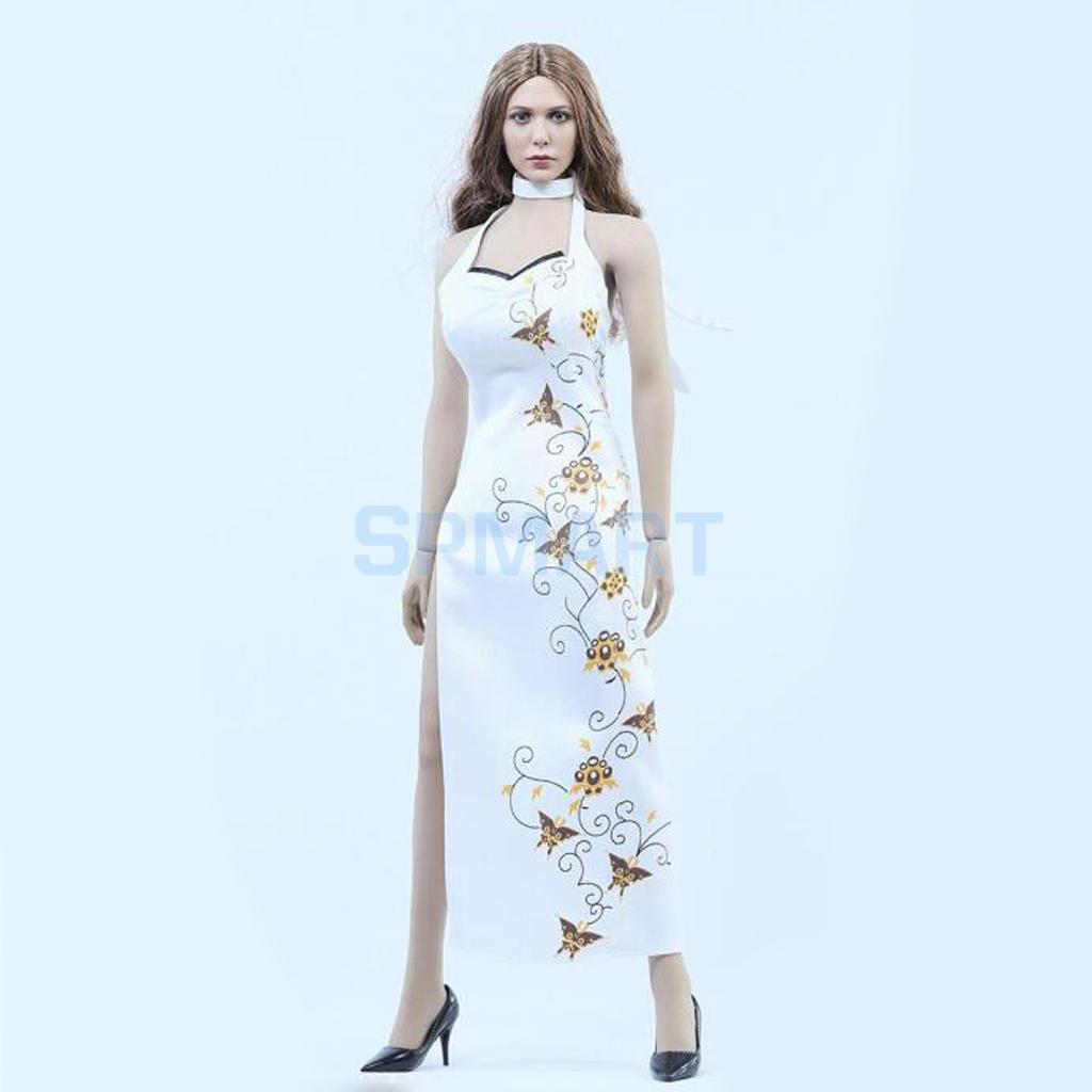 1/6 Scale High Split Cheongsam Dress Set Outfit Clothes and Shoes for 12'' Female Hot Toys Phicen Action Figure Accessories цена
