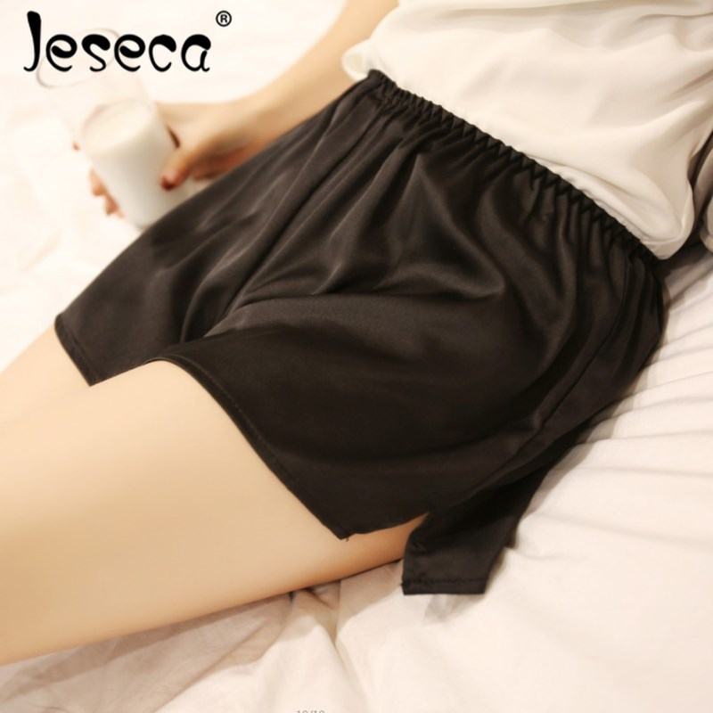 Jeseca Summer Breathable Women Girls   Shorts   Mid Waist Elastic Sexy Lace Silk   Short   Pants Female Plus Size Night Sleeping   Shorts