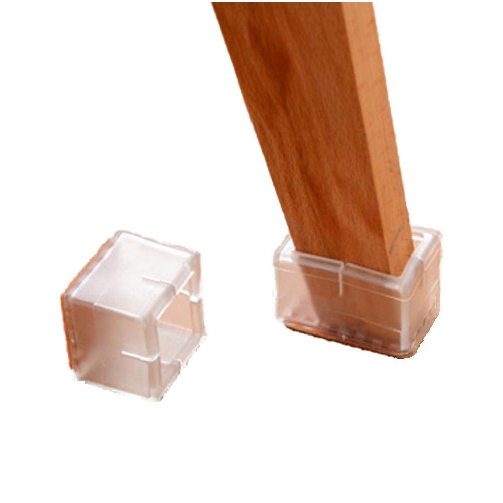 Practical Boutique Chair Leg Feet Wood Floor Protectors sets Rectangle (Clear 16 Pack ) practical boutique chair leg feet wood