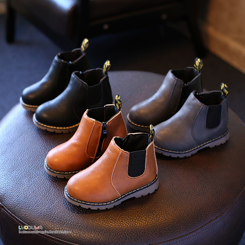 Autumn Winter Top Selling Boys Martin Boots New Fashion Brand Kids Leather Shoes Girls Zipper Soft Casual Boots Children Shoes