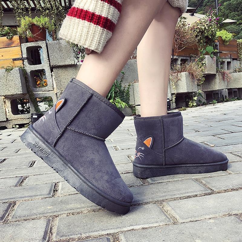 Botas Salvaje Nuevo De Mujeres Coreana La Zapatos Versión Estudiante 2018 Algodón gris Negro Las rosado Invierno Terciopelo XzwIqH
