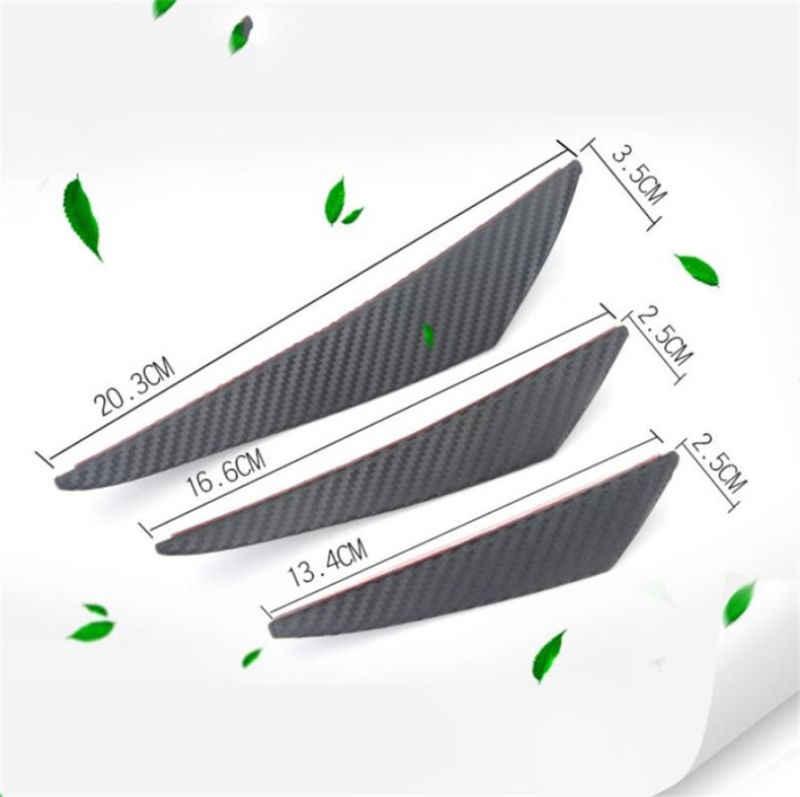 6 stuks Carbon Fiber Look Universal Black Voorbumper Lip Splitter Fin Air K-nife Auto Body Side Wing spoiler Voor Carfront Bumper