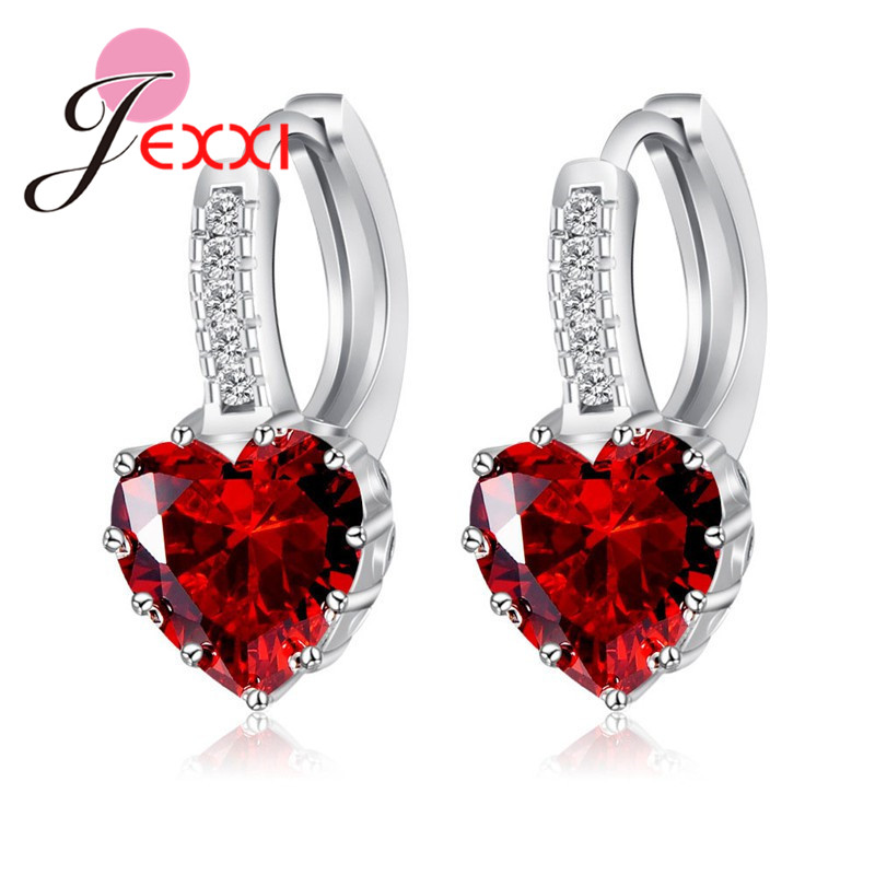 Real Pure 925 Sterling Silver Luxury Colorful Heart Band Jewelry Cubic Zirconia Stone Earrings Fashion For Women Girls 4