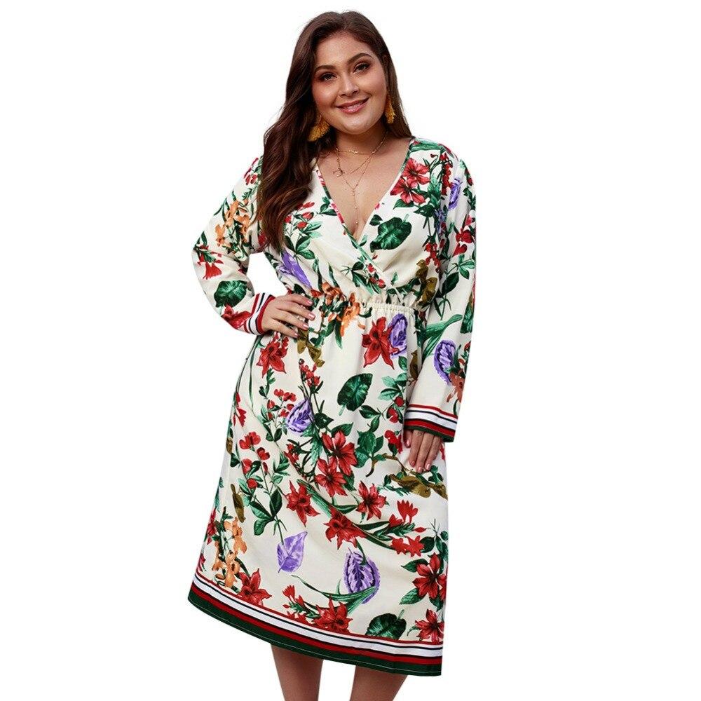 WHZHM Boho Floral Long Sleeve High Waist Loose Plus Size 3XL 4XL Dress Women Vestido Casual