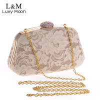 Fashion Vintage Ladies Lace Evening Hand Bags Famous Brand Designer Crystal Dinner Party Purse Chain Mini