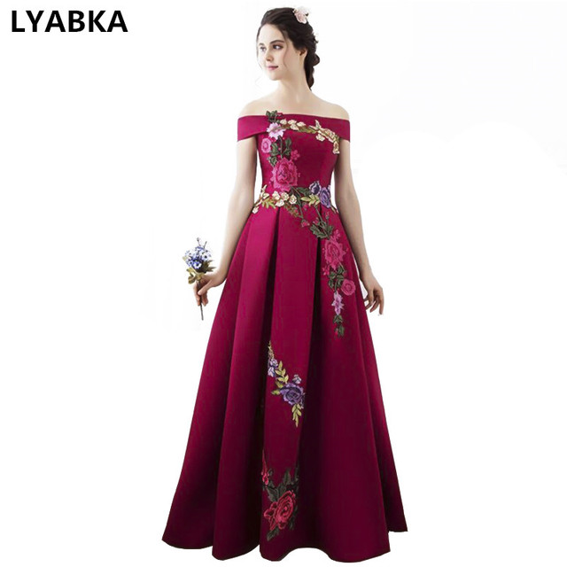 High Quality Prom Dresses Fashion Summer Satin With Big Flowers A-line Prom  Dress Boat fe795c28b70e