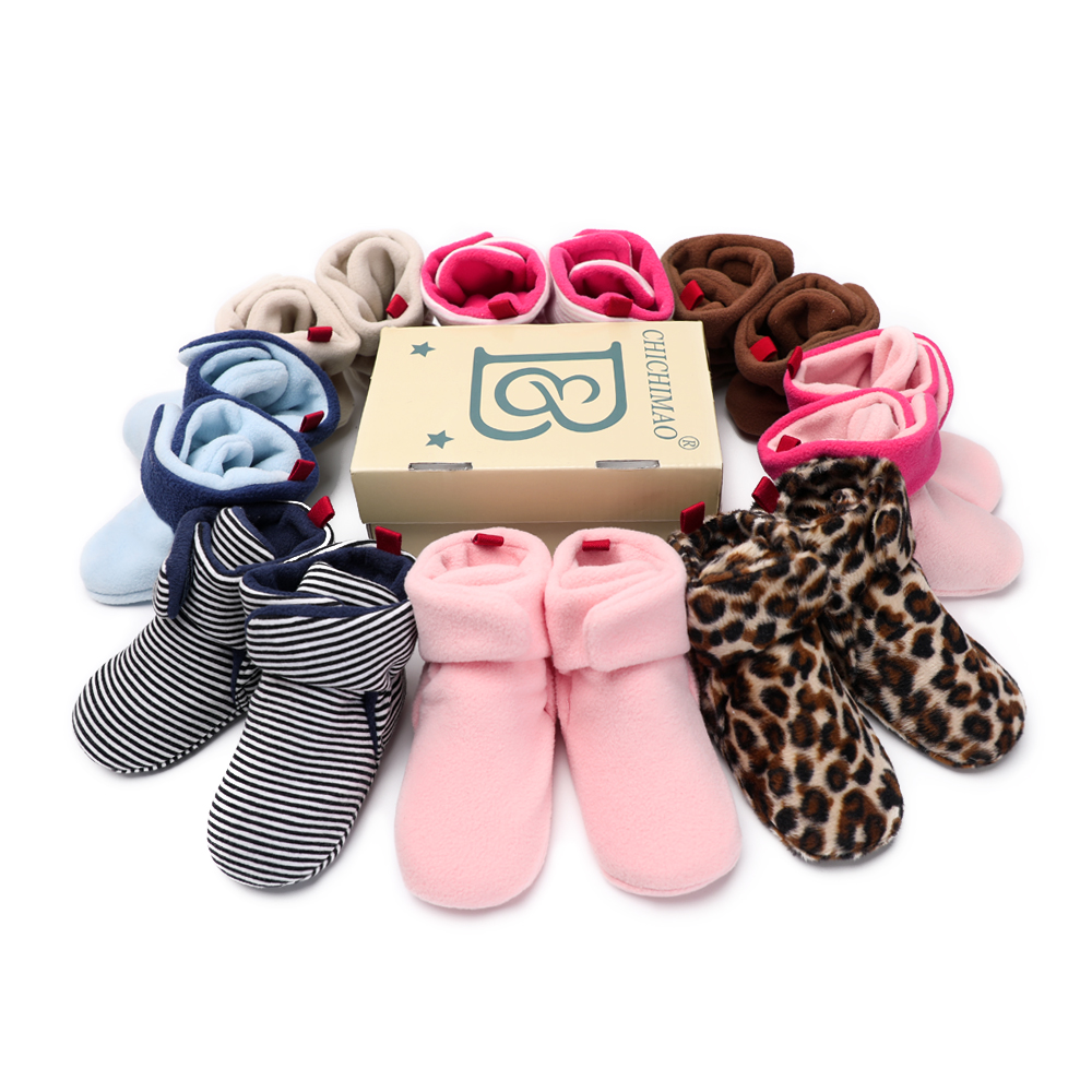 Newborn Baby Girls Boys Booties Winter Warm Boots Anti-Slip Soft Sole Crib Shoes