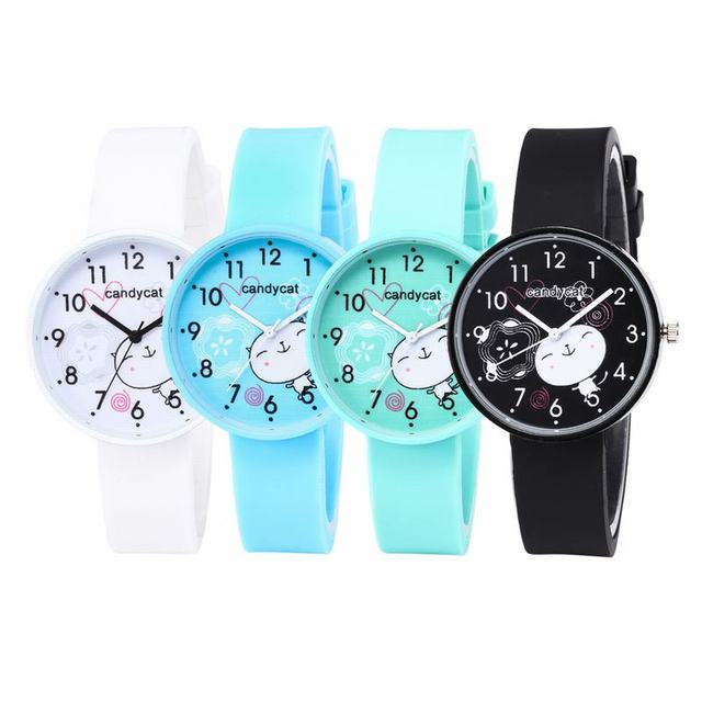 FUNIQUE 2018 Women Cute Cat Candy Colors Watches Cartoon Watch Girl Children Sil