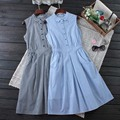 Japanese Summer Women's Sweet Plaid Button Mid Calf Dress Slim Waist Sleeveless Plaid Female Dress Mori Girl Cute Kawaii C112