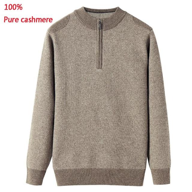 Novo 100% Pure Cashmere Homens Sweatercoat Roupas Semi Computador de Malha de Gola Alta Com Zíper Camisola Ocasional plus size Grosso XS-5XL