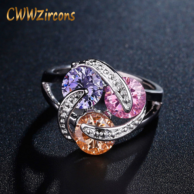 CWWZircons Rotating Design Sparkling Pink Yellow Purple CZ Crystal Engagement Ri