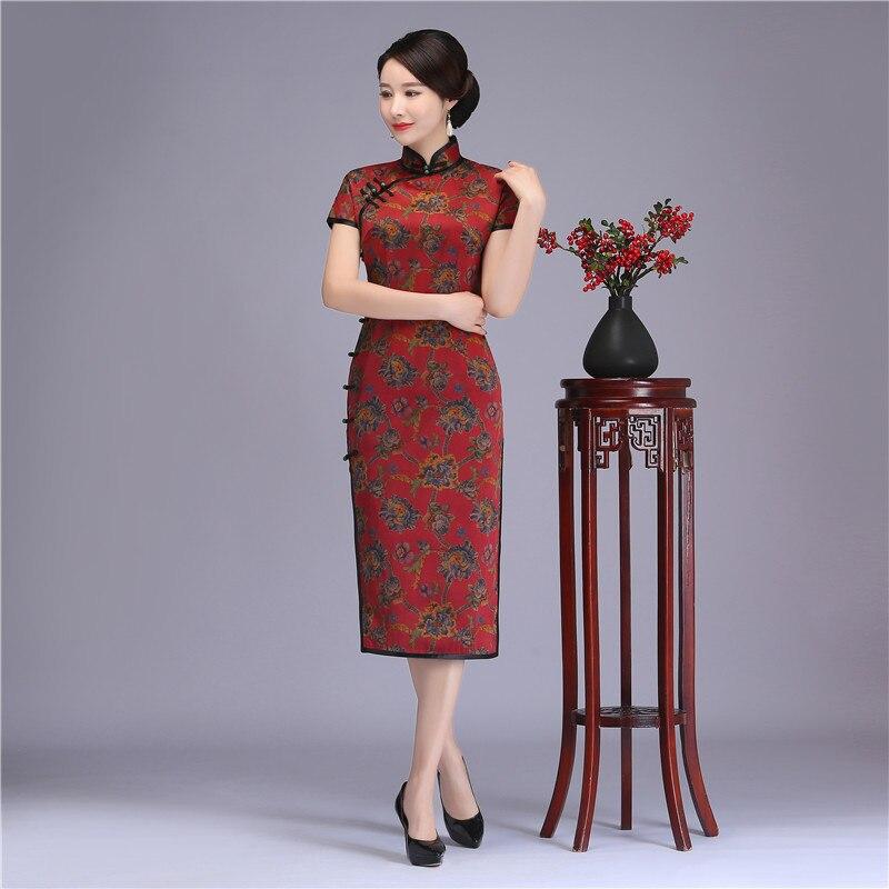 Vintage femmes Slim Long Cheongsam été à manches courtes Qipao Style chinois femme soirée robe de soirée en soie imprimé Vestidos
