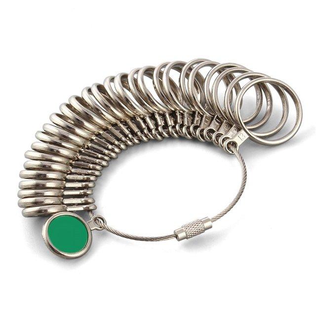 GENBOLI Metal Ring Sizer Set Measuring Ring with Rings Mandrel Sizer Finger Sizing Measuring Stick Ring Jewelry Tools Set A30