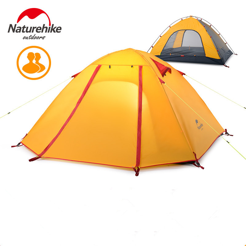 2016 DHL Free Shipping Naturehike 2 Person Ultralight Tent Camping NH 210T Double Professional Waterproof 5000MM Tent 1.9 kg high quality outdoor 2 person camping tent double layer aluminum rod ultralight tent with snow skirt oneroad windsnow 2 plus