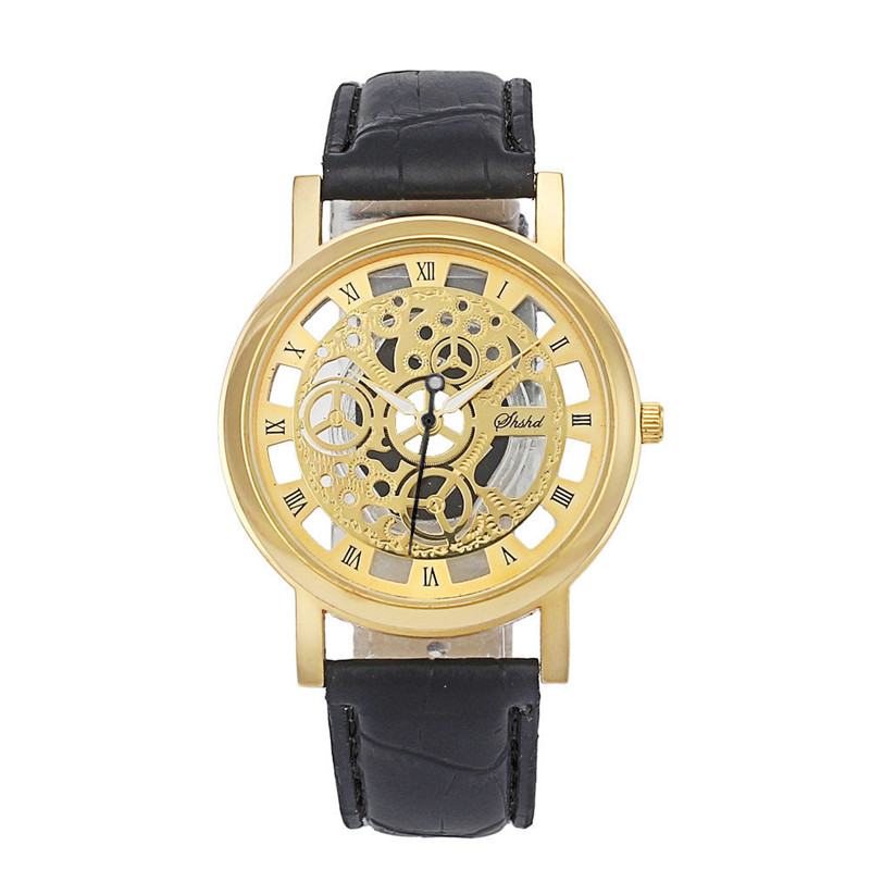New Fashion Classic Dial Skeleton Men's Leather Band Mechanical Luxury Sport Army Skeleton Quartz Wrist Watch relogio сани для ездового спорта продам