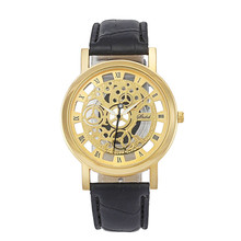 New Fashion Classic Dial Skeleton Men's Leather Band Mechanical Luxury Sport Army Skeleton Quartz Wrist Watch relogio