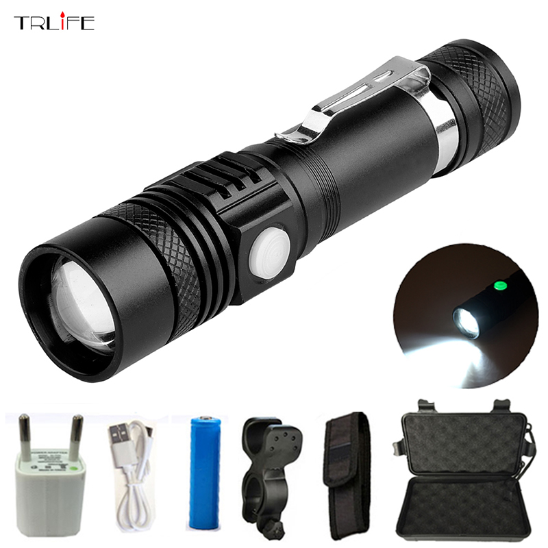 USB recargable Cree XML-T6 LED linterna 5000 lúmenes impermeable LED Flash luz antorcha de mano linterna con recordatorio de potencia