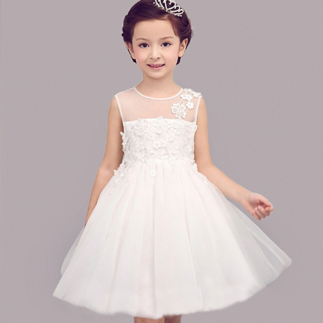 db90db0b9e08a Flower Girls New Arriavl Summer White Formal Lace Wedding Birthday Party  Dress Baby Girl Clothes Kids Costume Mesh Dresses 264-D
