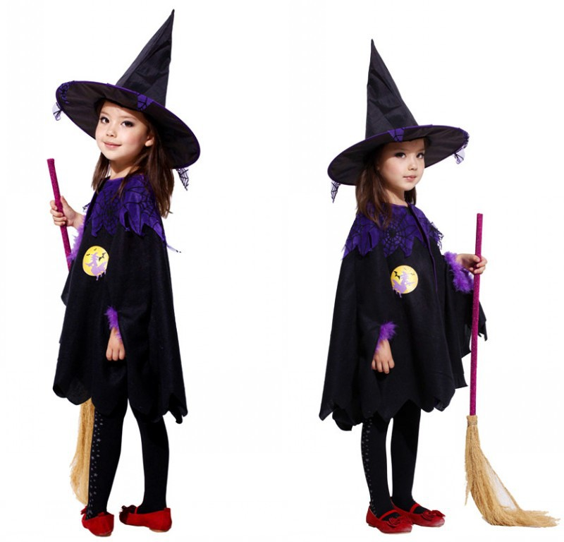 2019 Hot Children Witch Halloween Costume Kids Fancy Children's Performance Cosplay Costume Christmas Dresses Witch Cloak